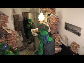Черпашки ниндзя отжимают пиццу